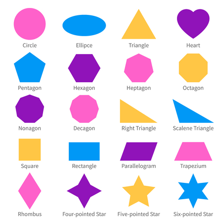 Simple geometric 2d shapes. School geometry vector diagram.