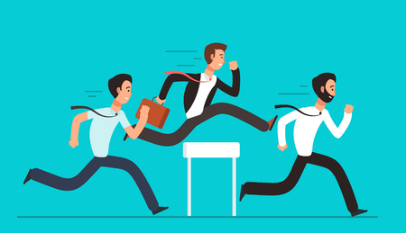Business people overcome hurdles. Steeplechase competition, leadership overcoming vector concept