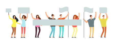 Crowd of protesting people with banners, flags. Voting students at demonstration. Political meeting and protest vector concept isolated Illustration