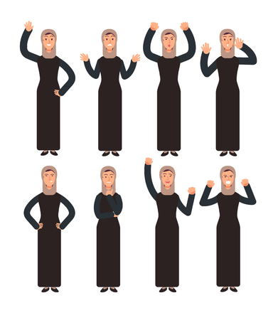 Arab woman standing with different hand gestures and face emotions. Female muslim vector characters set