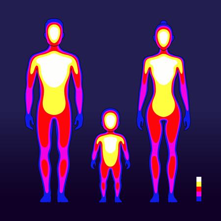 Mannelijke en vrouwelijke lichaamswarmte in infraroodspectrum. Menselijke temperatuur schematische vectorillustratie Vector Illustratie
