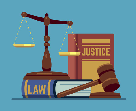 Justice scales and wood judge gavel. Wooden hammer with law code books. Legal and legislation authority vector concept