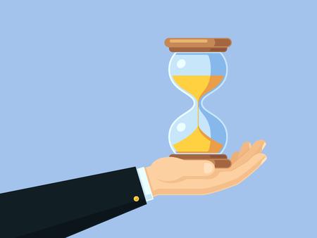 Mano de empresario de dibujos animados sosteniendo reloj de arena antiguo. Concepto de negocio de vector de gestión del tiempo con reloj de arena Ilustración de vector