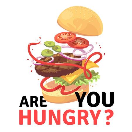 Delicious burger. Attractive flying hamburger cartoon vector illustration.