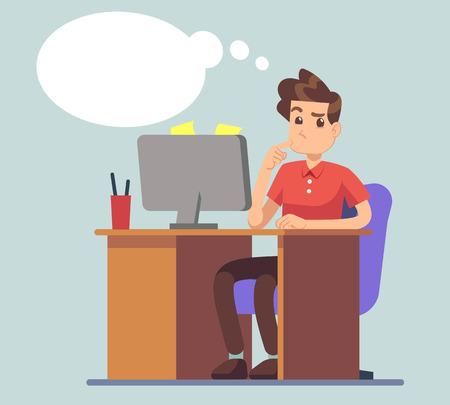 Penser l'homme et penser bulle. Étudiant à table avec le concept de vecteur d'éducation pour ordinateur portable. Pensées des personnages masculins sur les affaires en ligne.