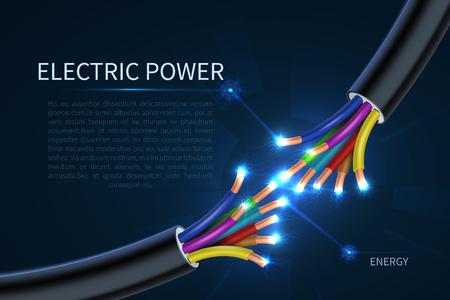 Cables de energía eléctrica, cables eléctricos de energía resumen antecedentes vectoriales industriales. Energía de cable, conexión de cable eléctrico, conecte la ilustración de línea eléctrica Ilustración de vector