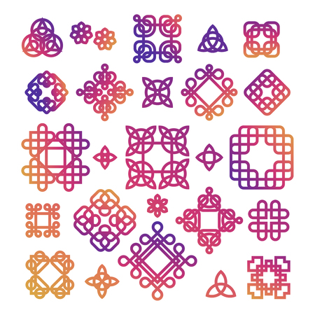 Bright Celtic knots isolated on white background. Vettoriali