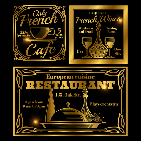 French and European cafe, restaurant labels template.