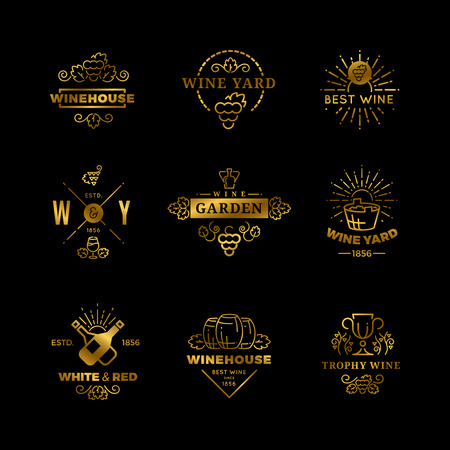 Golden vector wine logos and emblems isolated on black background illustration