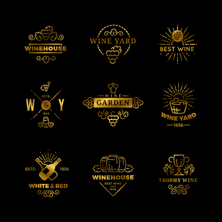 Vector wine icon and emblems isolated on black background.