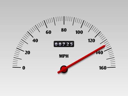 Car speedometer with speed level scale or tachometer vector illustration isolated on white background