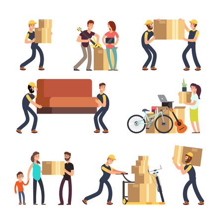 Family moving into new house. Man, woman and employees carrying boxes and heavy furniture vector characters set Иллюстрация