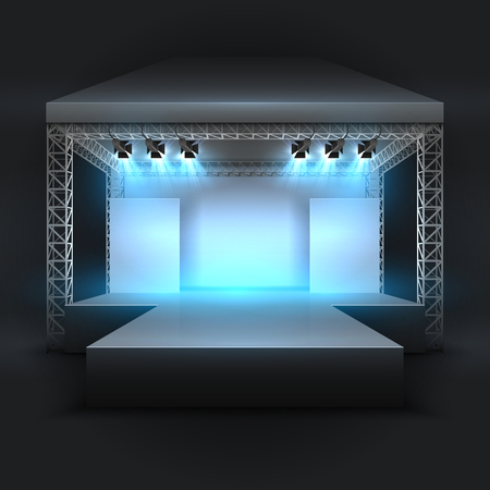 Empty music show stage with spotlights beams. Concert performance podium vector backdrop