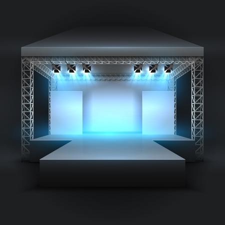 Escenario de espectáculo de música vacío con vigas de focos. Fondo de vector de podio de rendimiento de concierto