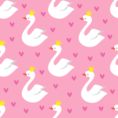 Cute swan princess with crown seamless vector pattern on pink background