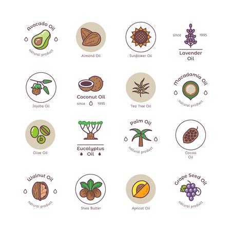 Healthy bio cosmetics oil linear vector logos