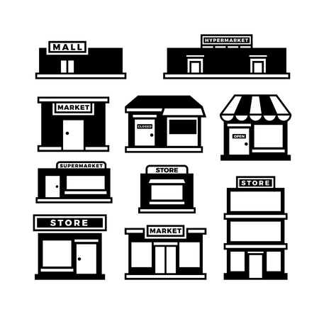 Mall and shop building icons. Shopping and retail pictograms. Supermarket, store exterior vector black symbols isolated