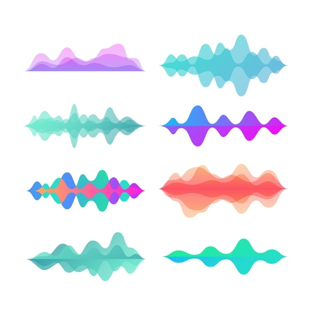 Amplitude color motion waves. Abstract electronic music sound voice wave vector set