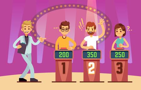 Giovani intelligenti che giocano a quiz game show. Cartoon illustrazione vettoriale Vettoriali