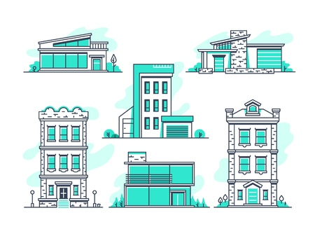 Houses and buildings property and accommodation line icons. Modern architecture outline symbos isolated
