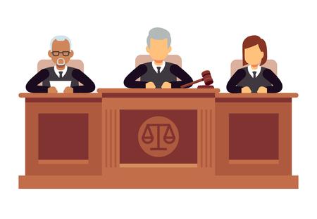 Corte suprema federal con jueces. Concepto de vector de jurisprudencia y derecho
