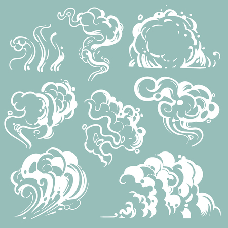 Cartoon white smoke and dust clouds. Comic vector steam isolated