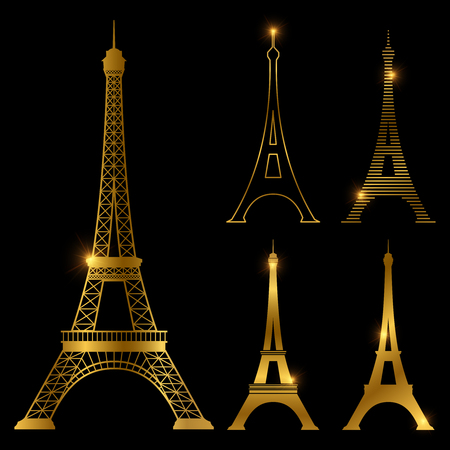 Different golden eiffel tower vector landmark set. Paris symbol icons