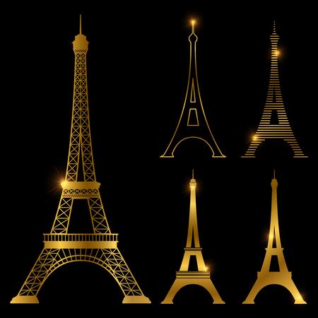 Conjunto de hito de vector de torre eiffel de oro diferente. Iconos de símbolo de París