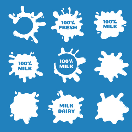 White milk, yogurt and cream splash and blot shapes. Natural dairy product vector labels isolated