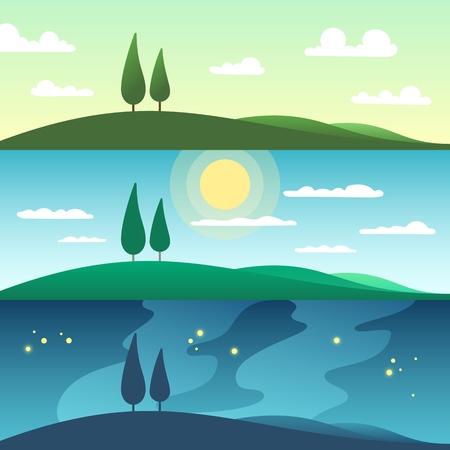 Schöne Sommerlandschaft zu verschiedenen Tageszeiten. Karikaturvektorillustration Vektorgrafik