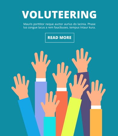 People raised hands, voting arms. Volunteering, charity, donation and solidarity vector concept