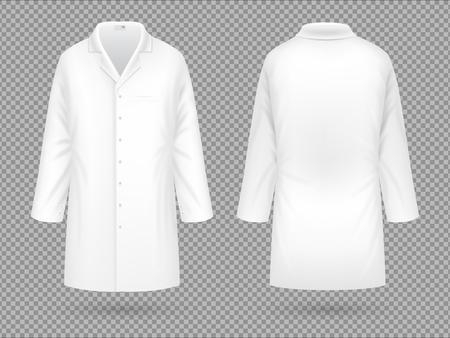 Bata de laboratorio médica blanca realista, plantilla de vector de traje profesional de hospital aislada Foto de archivo - 101267128