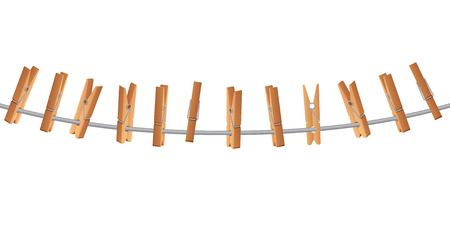 Wooden clothespin on clothes line holding rope vector illustration isolated on white background Illustration
