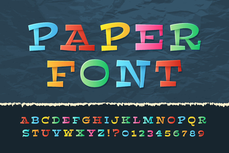Color paper alphabet. Funny cartoon holiday font. School kids vector letters and numbers