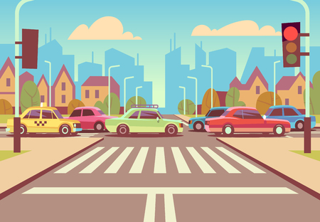 Cartoon city crossroads with cars in traffic jam, sidewalk, crosswalk and urban landscape vector illustration. Road with car on intersection way Vettoriali