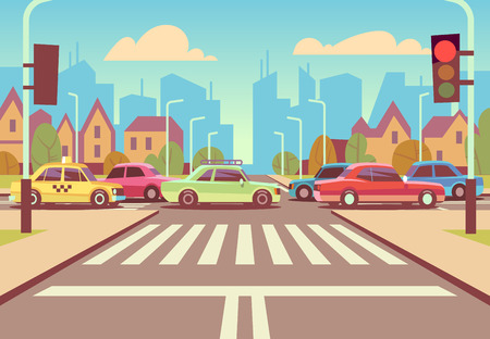 Cartoon city crossroads with cars in traffic jam, sidewalk, crosswalk and urban landscape vector illustration.