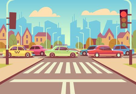 Karikaturstadtkreuzung mit Autos im Stau, Bürgersteig, Zebrastreifen und Stadtlandschaftsvektorillustration.