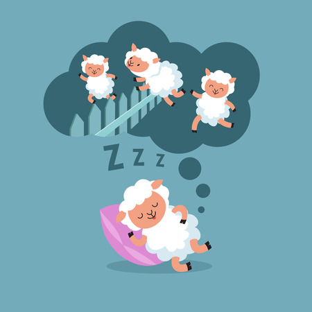 Counting sheep to sleep at night. Jumping lamb to happy dream cartoon vector illustration.