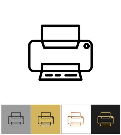Printer icon, office printing document equipment simple symbol Illustration