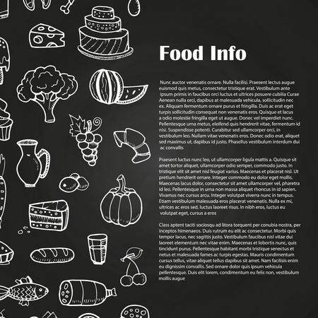 Blackboard food poster with hand drawn Vectores