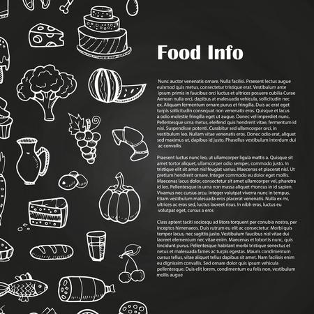 Blackboard food poster with hand drawn Illustration