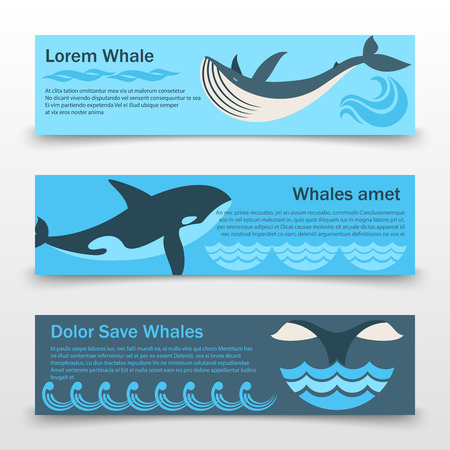 Wild whales banners template Ilustracja