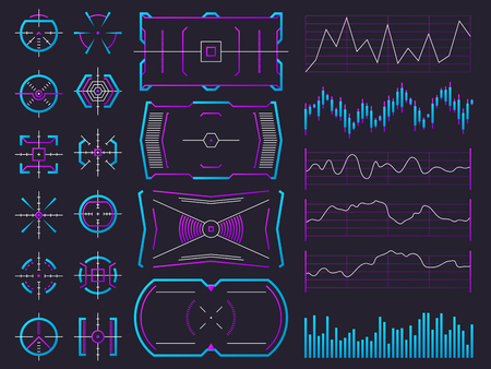 Futuristic ui design hologram screens. Chart, graph, interface frames and warning regulators. Future science hud interfaces vector set