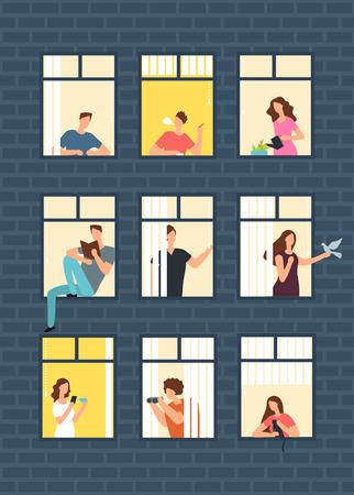 Neighbors cartoon people in apartment house windows. Neighborhood vector concept