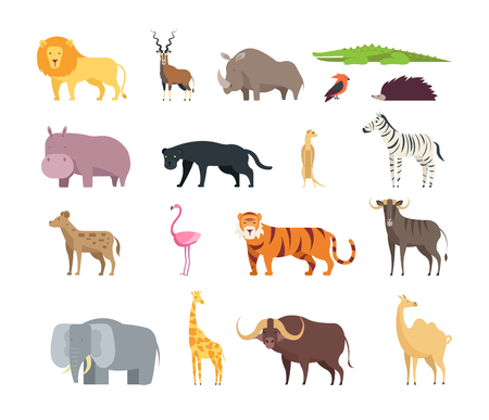 Cartoon african savannah animals. Wild zoo safari mammals, reptiles and birds vector set isolated on white background Illustration