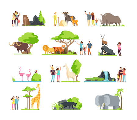 Happy families, kids with parents and wild zoo animals in wildlife park. Vector cartoon set isolated on white background Illustration