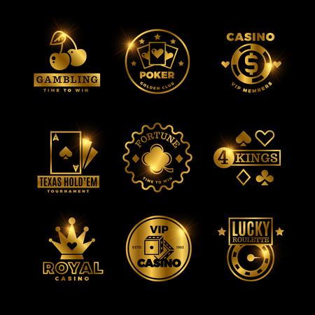 ゴールデンギャンブル、カジノ、ポーカーロイヤルトーナメント、ルーレットベクトルラベル、エンブレム、ロゴ、バッジ 写真素材 - 102080233