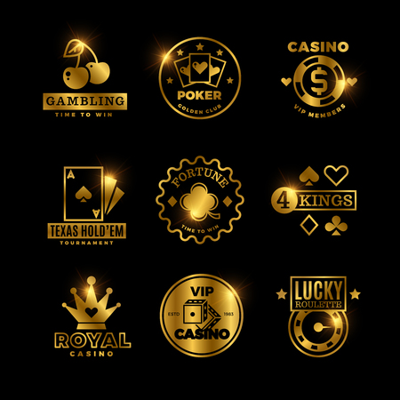 Golden gambling, casino, poker royal tournament, roulette vector labels, emblems, logos and badges