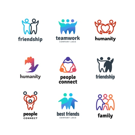Friendship community friendly team people together cooperation vector logo set