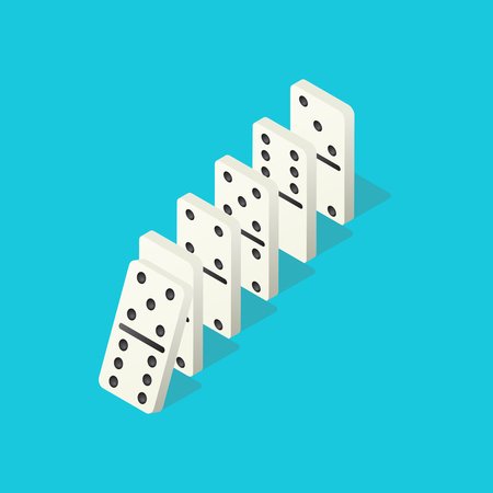 Falling dominoes. Domino effect, chain reaction and disaster business vector concept